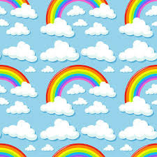 Vinyl <b>Cartoon Blue</b> Sky White Clouds Rainbow Backdrop Prop ...
