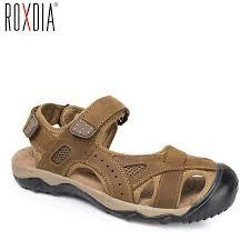 ROXDIA <b>plus size 39 48</b> genuine cow leather men sandals <b>summer</b> ...