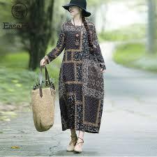 EaseHut Vintage <b>Printed Cotton Linen</b> Dress For Women Loose ...
