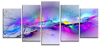 Wieco Art Changing Colors <b>Modern 5 Piece</b> Stretched and Framed ...