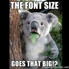 the font size goes that big!? - Koala can't believe it | Meme ... via Relatably.com