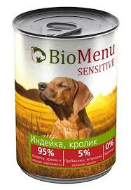"<b>Консервы</b> для собак ""<b>Bio Menu Sensitive</b>. <b>Индейка</b>, кролик"", 410 г ..."