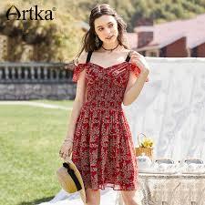 ARTKA <b>2018 Summer New Women</b> Chiffon Floral Strapless V neck ...