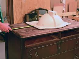 Old Bathroom Sink Turn A Vintage Dresser Into A Bathroom Vanity Hgtv