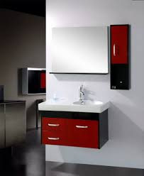 m modern interior furniture single vanity bathroom vanity ideas with red wooden frame drawers and black solid side suport wall mounted under square wall black and red furniture