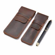 Handmade Genuine Leather <b>Pen Bag</b> Cowhide <b>Pencil Bag Vintage</b> ...