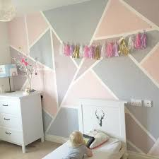 girls room decor ideas painting: girls room with geometric shape wall painted in pink and purple