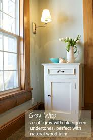 wall color ideas oak: gray wisp by benjamin moore is a soft muted gray with a subtle blue trim colorwall color with oak trimcolour grayliving room paint color ideas