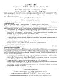 human resources manager and compensation specialist resumefree resume templates