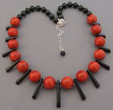 Image result for red and black statement necklace