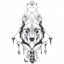 Vector illustration of a front view of a <b>wolf</b> head, <b>geometric</b> sketch of ...