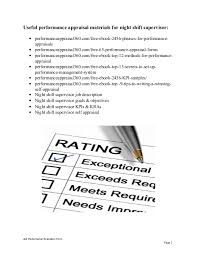 night shift supervisor performance appraisalnight shift supervisor performance appraisal job performance evaluation form page