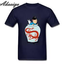 Tintin Adventures Blue Lotus Funny T Shirt Cartoon 100% Cotton ...