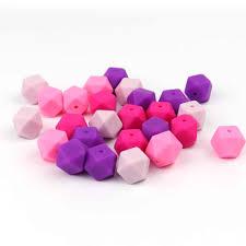 <b>TYRY</b>.<b>HU 20Pcs</b> Hexagon <b>Silicone</b> Beads Baby Teething Beads For ...