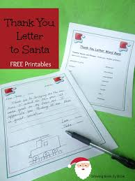 writing activities thank you letters to santa writing a thank you letter to santa printables from com