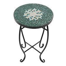 GOTOTOP <b>Mosaic</b> Painted Glass Patio <b>Plant</b> Stand Round <b>Side</b> ...