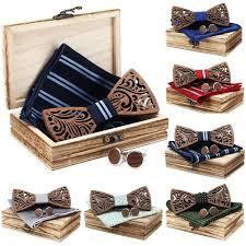 <b>4PCS</b>/Set <b>Men</b> Fashion <b>Wooden Bow</b> Tie Set Tuxed Bowtie Necktie ...