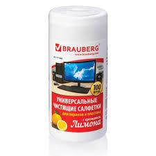 Салфетки <b>чистящие</b> для мониторов <b>Brauberg Лимон</b>, 100шт/уп ...
