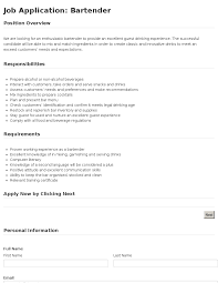 job application bartender template job application bartender