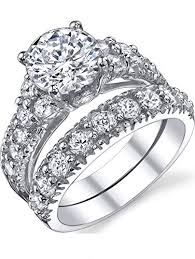 Solid Sterling Silver 925 Engagement Ring Set Bridal ... - Amazon.com