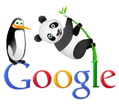 A silly image of a penguin and a panda on Google's logo