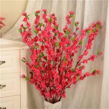 <b>65cm Artificial Cherry</b> Peach Blossom Branch <b>Fake Silk</b> Flower Tree ...
