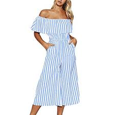 <b>Women Striped Print</b> Off The Shoulder Wide Leg Long Pants ...