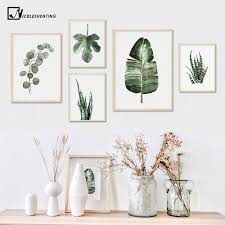 <b>Watercolor Plant</b> Leaves Poster Print Wall Art Canvas Painting ...