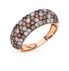 Золотое <b>кольцо</b> с коньячными <b>бриллиантами</b> и <b>бриллиантами</b> ...