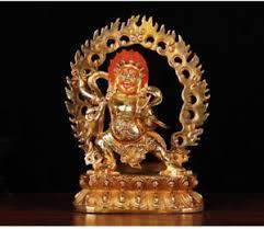 "8"" Old <b>Tibetan</b> Buddhism <b>copper gilt</b> hand painting Vajrapani statue ..."