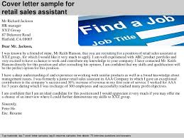 Cover letter sample for retail sales assistant