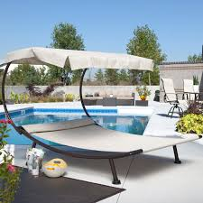 comfortable patio chairs aluminum chair: coral coast del rey double chaise lounge with canopy