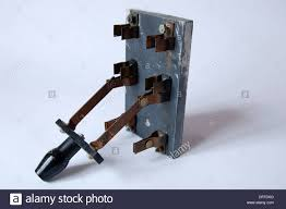 closeup antique old electrical fuse box breaker switch brass stock closeup antique old electrical fuse box breaker switch brass disconnect slate base circa early 1900s electricity