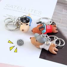 new <b>Cartoon</b> 3D Cute Pet Dog <b>Bulldog</b> Car Keychain Animal Lovely ...