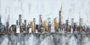 <b>New York Skyline Cityscape</b> Architecture Abstract Wall Art Painting ...