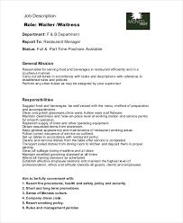 restaurant waitress job description example waiter job description