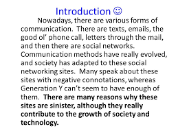 social networking essay feedback students take notes on feedback    introduction nowadays  there are various forms of communication  there are texts  emails