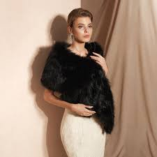 <b>100</b>% <b>Real Pictures Black</b> Party Evening Jacket Wrap Faux Fur ...