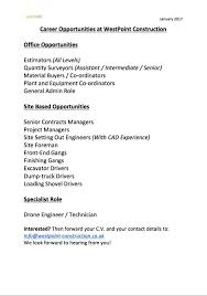 westpoint construction linkedin these roles are available immediately if they take your interest please forward your c v and your contact details to info westpoint construction co uk