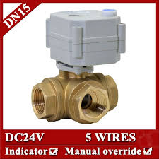 1/2'' 24VDC 3 way horizontal <b>motorized ball valve</b> 5 wires, <b>DN15</b> ...