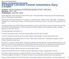 ex flame lorraine chanel remembers gary cooper gary cooper scrapbook san antonio express news article interview lorraine chanel 1924 2008 about her relationship gary cooper star crossed lovers ex flame lorraine