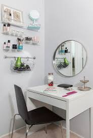 ikea micke as vanity desk in white room with large grundtal mirror chic ikea micke desk white