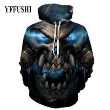 2019 <b>YFFUSHI 2018 Male 3d</b> Pullovers Scary Skull Monster Print ...