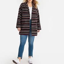 <b>Пальто средней</b> длины в полоску черный разноцветн. Castaluna ...