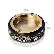 LXF Ash Trays <b>Creative Big</b> Circle Pattern Gold Smoking Cup <b>Metal</b> ...