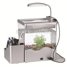 aliexpress usb small aquarium multifunctional penholder mini aquarium office desk led light tank beautify baby life office desk aquarium