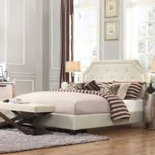 piece emmaline upholstered panel bedroom: this bed also offers a white linen upholstery adding elegance and class to this bedroom piece