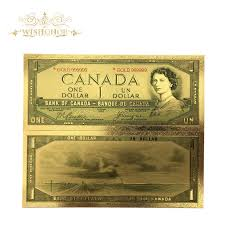 10Pcs/lot New Products For <b>Color Canada Banknote 1</b> Dollars Gold ...