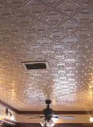 sagging tin ceiling tiles bathroom:  white