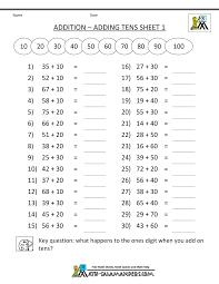 Third Grade Addition Worksheetsmath worksheets printable mental addition adding tens 1